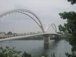 Blick auf die beiden Bögen der Rheinbrücke