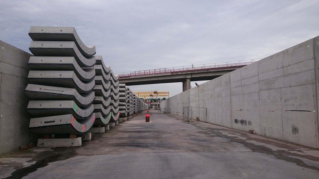 Tunneltrog Nord als Tübbinglager