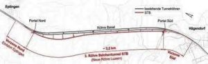 Bild 2: Lageplan des parallelen Sanierungstunnels (3.Röhre)