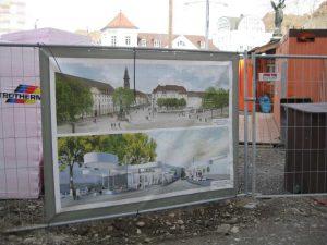 Bild 5: Visualisierung Platz mit Siegesdenkmal (obere Darstellung) und Straßenbahnknotenpunkt mit Pavillon (untere Darstellung)