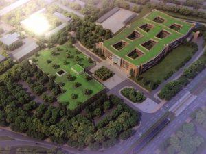 Grüne Animation: Bürogebäude und Parkhaus von oben!