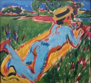 Ernst Ludwig Kirchner: Liegender blauer Akt mit Strohhut