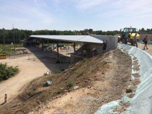 Schrägansicht der neuen Wasserwerkbrücke mit Blickrichtung Oberwald