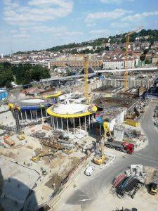 Blick vom Infoturm auf das Baufeld